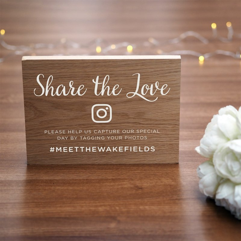 Personalised Wooden Hashtag Wedding Sign
