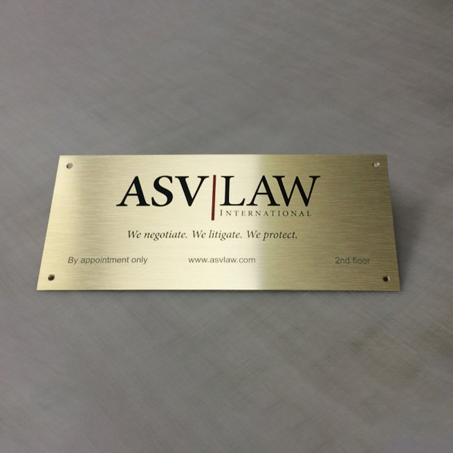 Digitally Printed Logo on Brushed Brass Aluminium