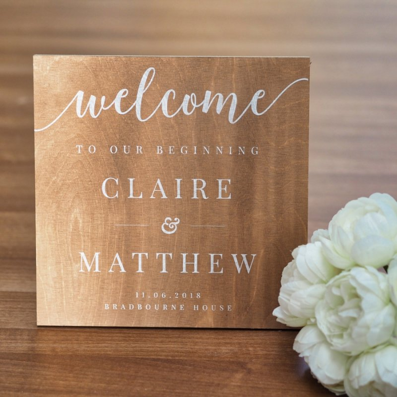 Personalised Welcome Wooden Wedding Sign