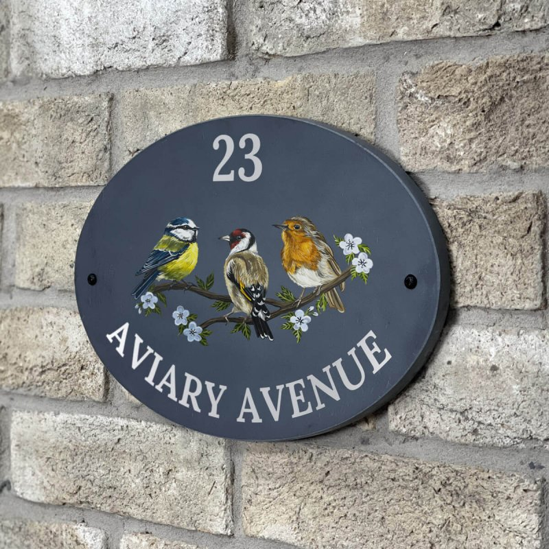 Aviary Bird Slate Oval Sign