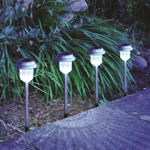 Stainless Steel Border Lantern Solar Lights - Pack of 4