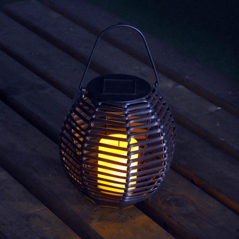 Rattan Effect Solar Candle Lantern Light