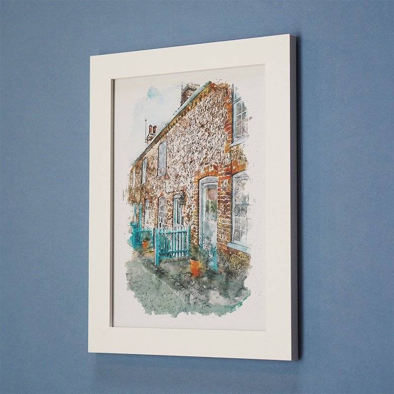 Watercolour Effect House Illustration