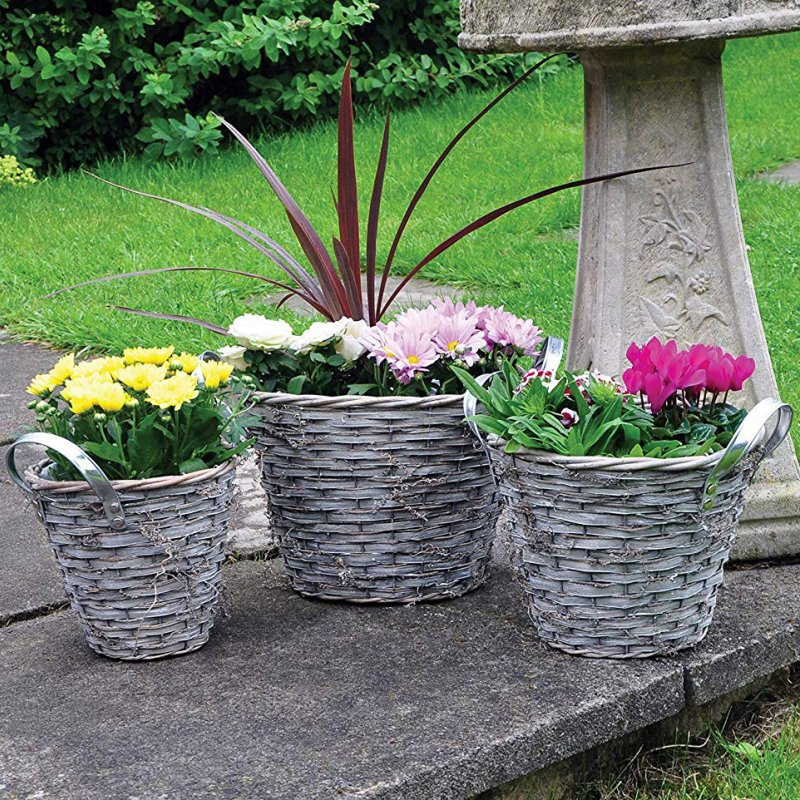 Grey Wicker Planters - Set of Three