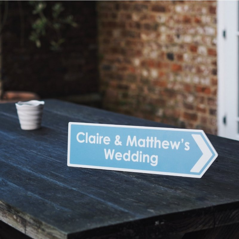 Personalised Arrow Road Wedding Sign