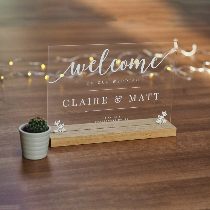 Personalised Wooden And Acrylic Welcome Wedding Sign