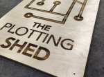 Laser engraved plywood sign