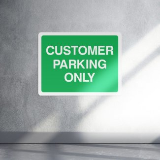 Green customer parking only sign - landscape