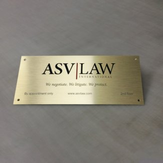 Digitally Printed Logo on Brushed Brass Aluminium