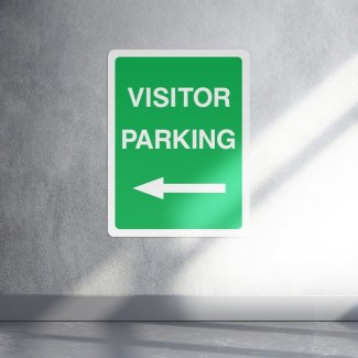 Visitor parking left arrow sign - portrait