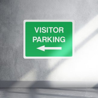 Visitor parking left arrow sign - landscape