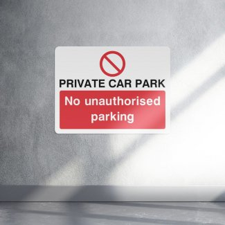 Private car park no unauthorised parking access sign
