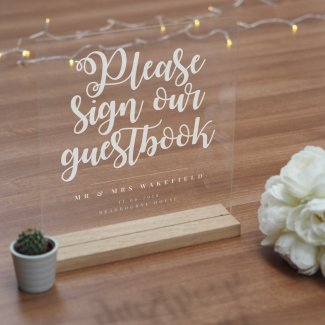 Personalised Acrylic Wedding Guestbook Sign