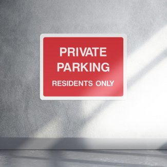 Private parking residents only access sign - landscape