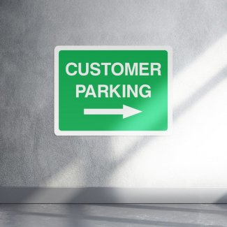 Green customer parking right arrow sign - landscape
