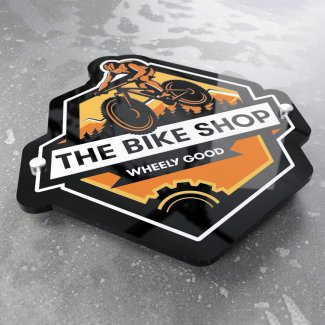 Printed Glossy Black Acrylic Sign Cut To Shape