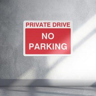 Private drive no parking access sign - landscape