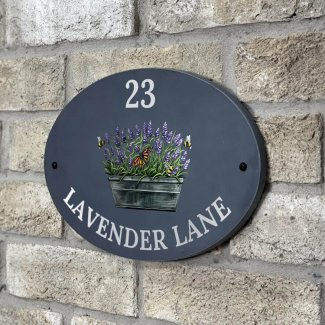Lavender & Bee Slate Oval