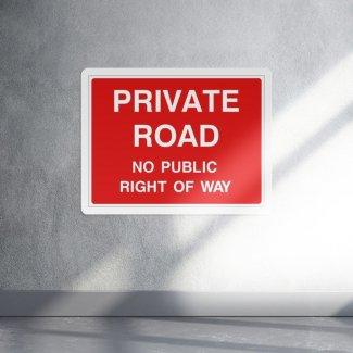 Private road no public right of way access sign - landscape