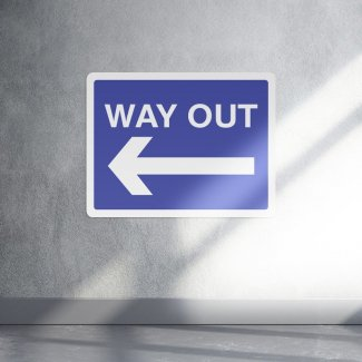 Way out left arrow parking sign - landscape