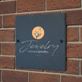 Slate Printed Logo Sign - Natural Edge