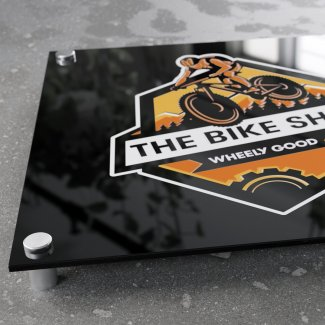 Black glossy acrylic printed sign