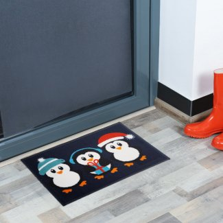 Penguins Christmas Doormat