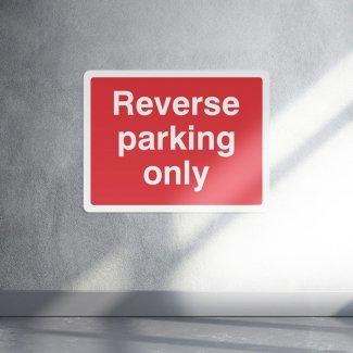 Reverse parking only safety sign - landscape