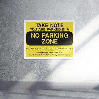 No parking zone warning sign