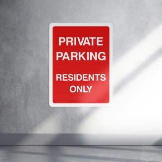 Private parking residents only access sign