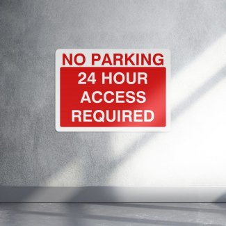 No parking 24 hour access required parking sign