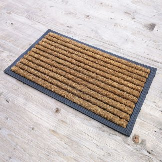 Striped Coir and Rubber Door Mat