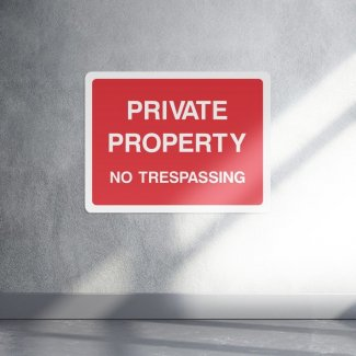 Private property no trespassing access sign - landscape