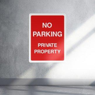 No parking private property sign - portrait